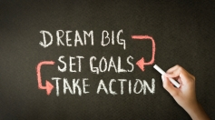 Dream Big, Set Goals, Take Action chalk drawing
